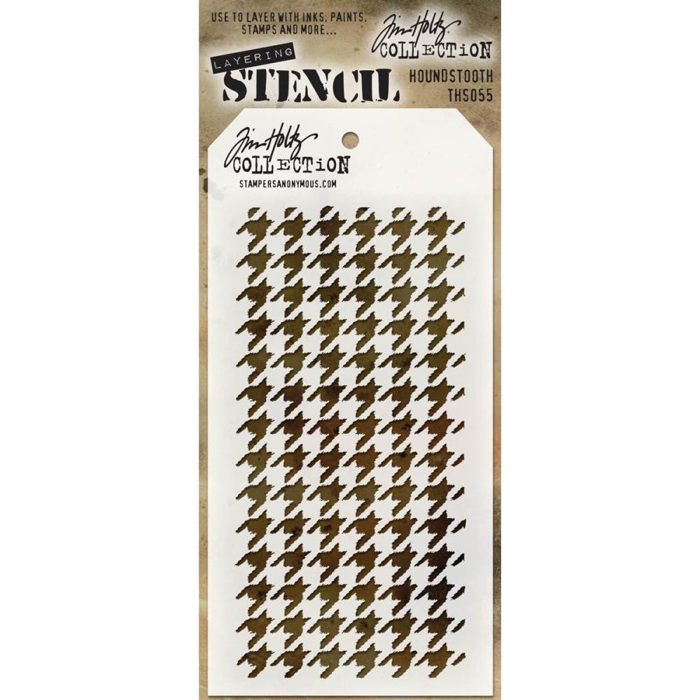 "Houndstooth Tim Holtz Layered Stencil 4.125""X8.5"" - Artified Shop"
