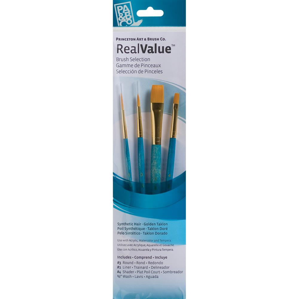 Real Value Brush Set Golden Taklon - 4 pack - Princeton Art & Brush Co - Artified Shop