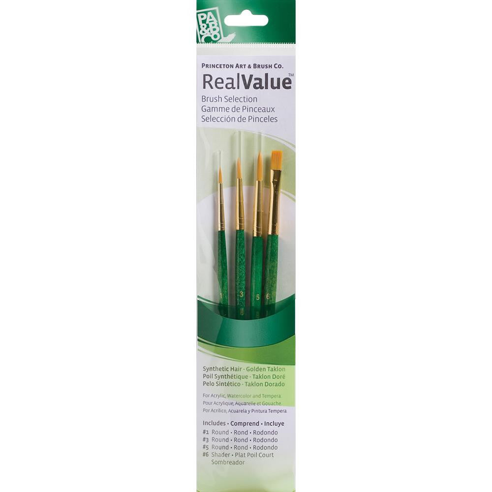 Real Value Brush Set Golden Taklon - 4 pack - Princeton Art & Brush Co