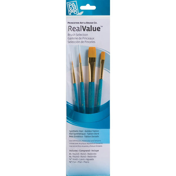 Synthetic Gold Taklon Real Value Brush Set 4 pack - Princeton Art & Brush Co - Artified Shop