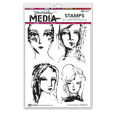 "Dina Wakley Media Cling Stamps 6""X9""  Interesting Faces"