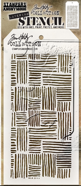 "Tim Holtz Layered Stencil 4.125""X8.5"" Thatched - Artified Shop"