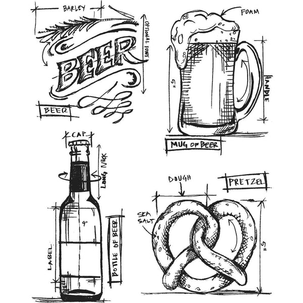 "Tim Holtz Cling Stamps 7""X8.5"" Beer Blueprint - Artified Shop"