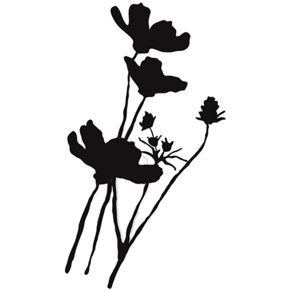 "Wild Poppy Silhouette Donna Downey Cling Rubber Stamps 4""X7"""
