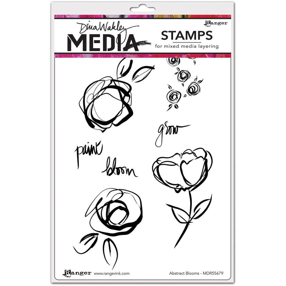 "Dina Wakley Media Cling Stamps 6""X9"" - Abstract Blooms"