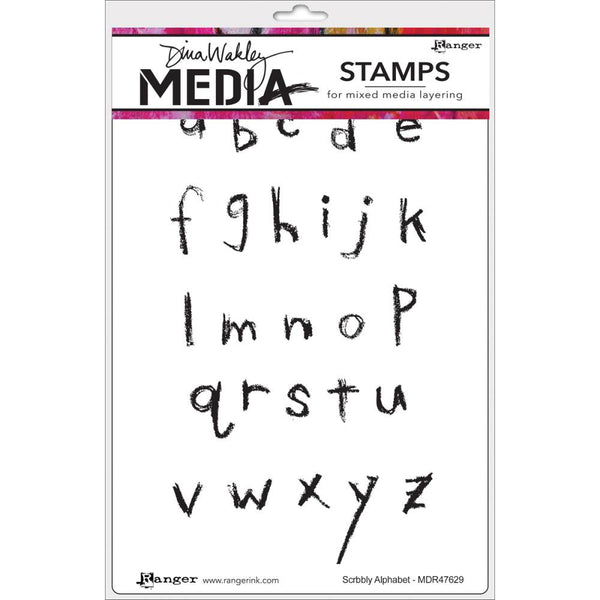 "Scribbly Alphabet Dina Wakley Media Cling Stamps 6""X9"""