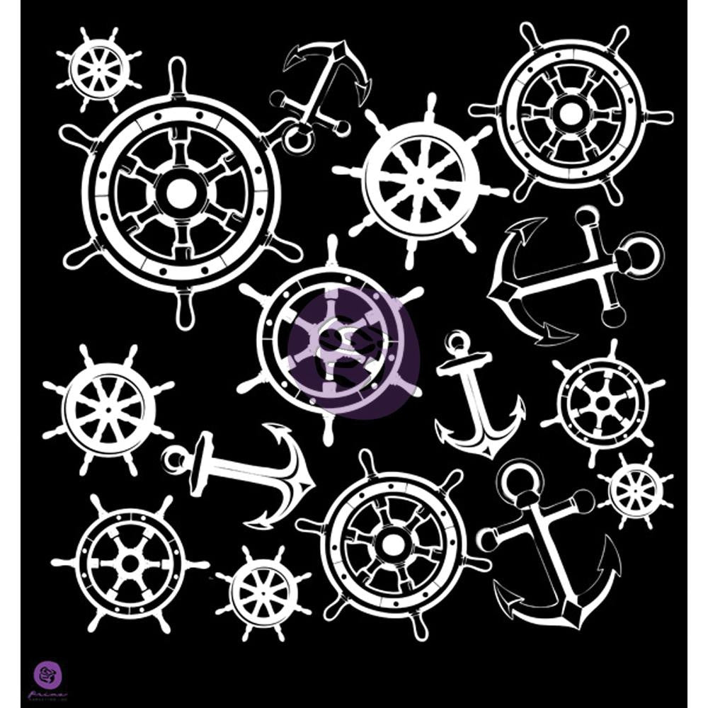 "Prima Designer Stencil 12""X12"" - Anchors and Helms"