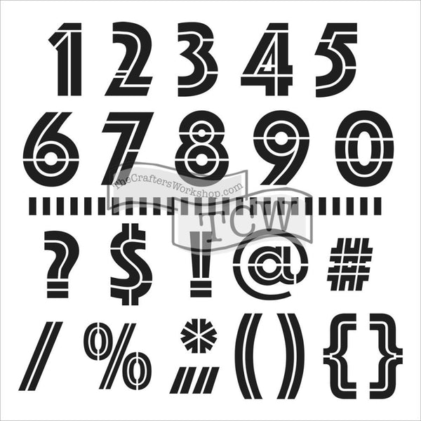 "Art Deco Numbers Crafter's Workshop Template 12""X12"" - Artified Shop  [product_venor]"