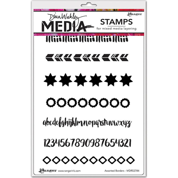 "Assorted Borders Dina Wakley Media Cling Stamps 6""X9"" - Artified Shop"