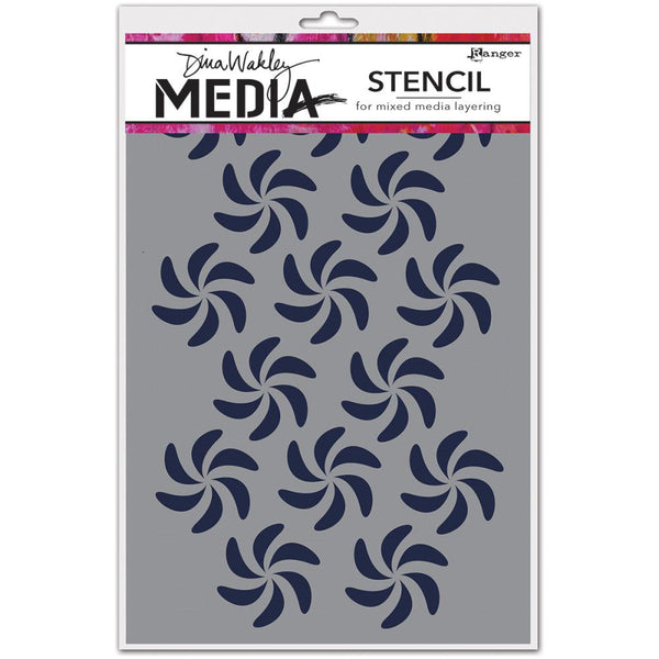 "Bendy Pinwheels Dina Wakely Media Stencils 9""X6"" - Artified Shop"