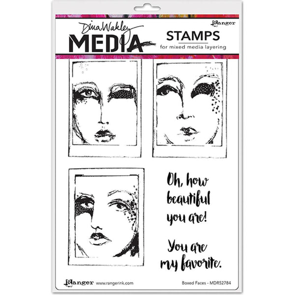 "*Boxed Faces Dina Wakley Media Cling Stamps 6""X9"" - Artified Shop  [product_venor]"