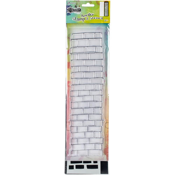 "Dyan Reaveley's Dylusions Clear Stamp & Stencil Set 9"" - Brickwork (small) - Artified Shop"