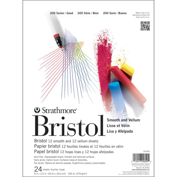 "Strathmore Bristol Smooth & Vellum Paper Pad 9""X12"" - Artified Shop"