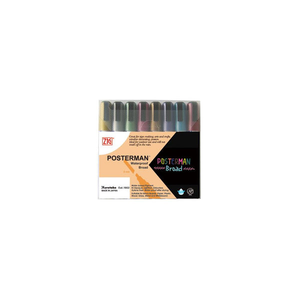 Zig Posterman Broad Metallic Marker Set 8/Pkg - Artified Shop