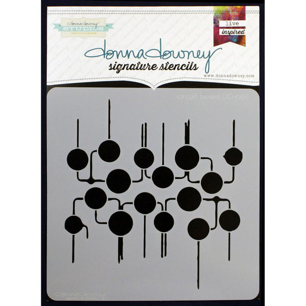 "Circuit Board Donna Downey Signature Stencils 8.5""X8.5"""