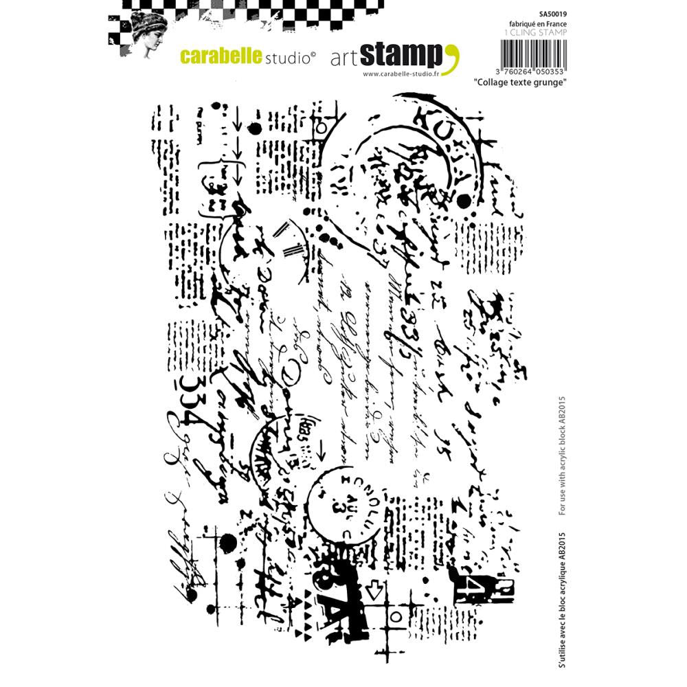 Carabelle Studio Cling Stamp A5 - Collage Grunge Text - Artified Shop