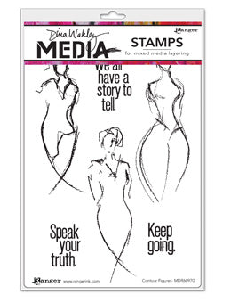 "Dina Wakley Media Cling Stamps 6""X9"" Contour Figures - Artified Shop"