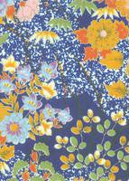 Flowers on Dark Blue Yuzen Paper - Japanese Paper A4