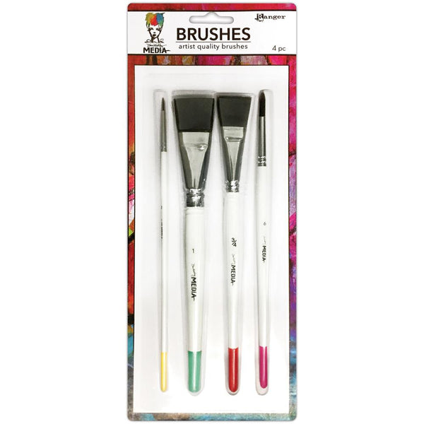 "Dina Wakley Media Brushes 4/Pkg - Round 3, Fine Point 6, Flat .75"" & 1"""