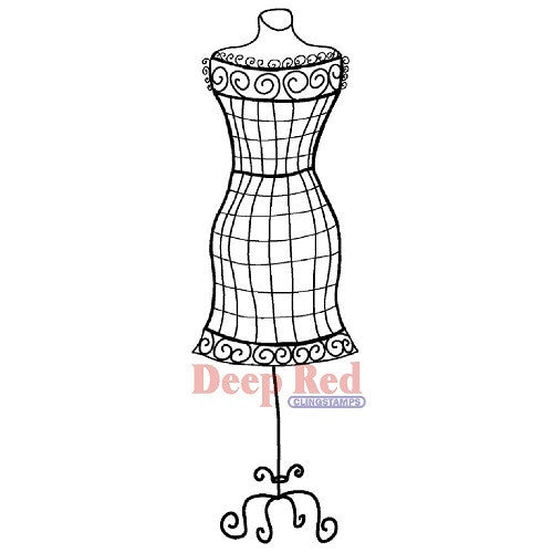 "Dress Form Wire Frame Deep Red Cling Stamp 1""X3.1"" - Artified Shop"