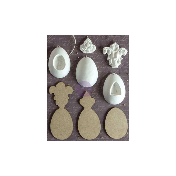Imperial Eggs, 5 Shapes & 3 Wood Backs Prima Marketing Relics & Artifacts Archival Cast