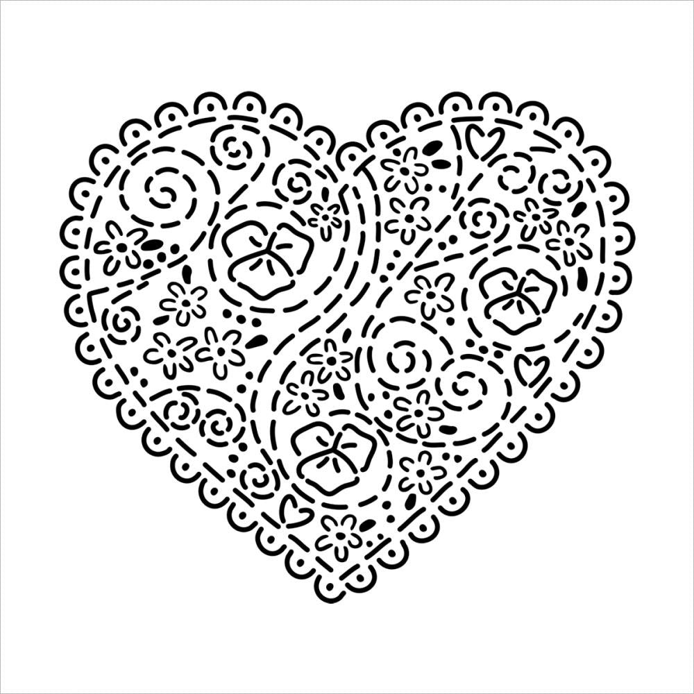 "Embroidered Heart Crafter's Workshop Template 6""X6"""
