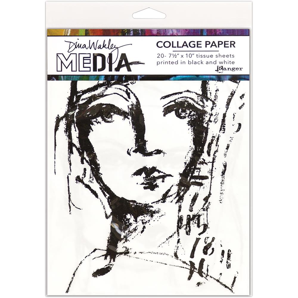 "Faces Dina Wakley Media Collage Tissue Paper 7.5""X10"" 20/Pkg - Artified Shop"