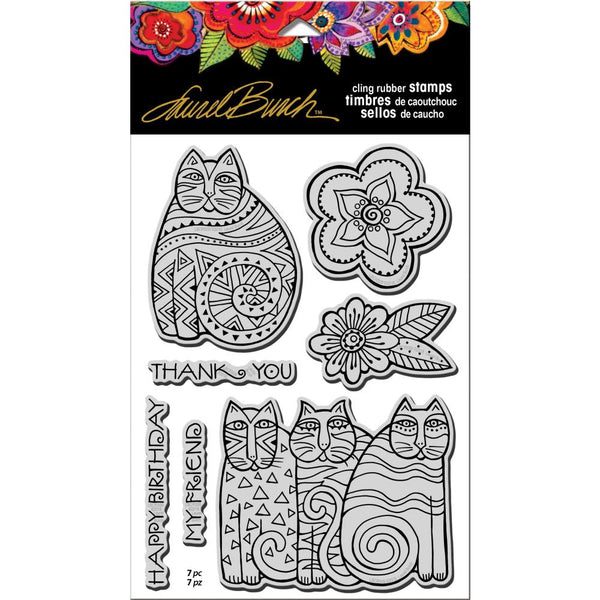 Stampendous Laurel Burch Cling Stamp W/Template - Feline Blooms