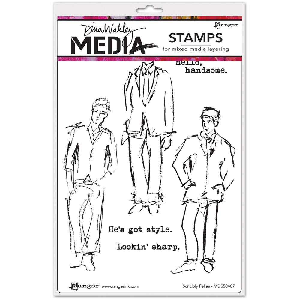 "Scribbly Fellas Dina Wakley Media Cling Stamps 6""X9"""