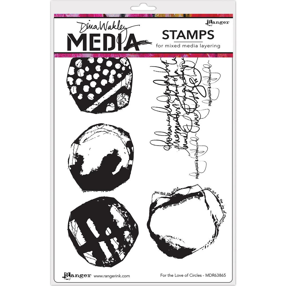 "For the Love of Circles Dina Wakley Media Cling Stamps 6""X9"" - Artified Shop"
