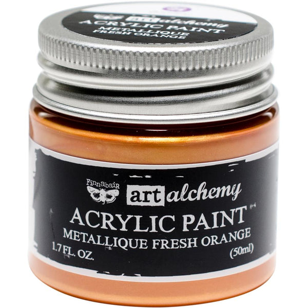 Finnabair Art Alchemy Acrylic Paint 1.7 Fluid Ounces - Metallique Fresh Orange