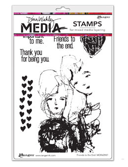 "Dina Wakley Media Cling Stamps 6""X9"" Friends to the End - Artified Shop"