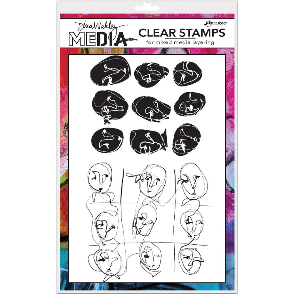 Funky Faces Background Dina Wakley Media Clear Stamps - Artified Shop