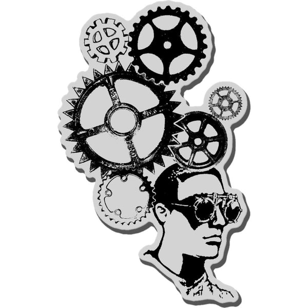"Gear Head Stampendous Cling Rubber Stamp 3.5""X4"" Sheet"
