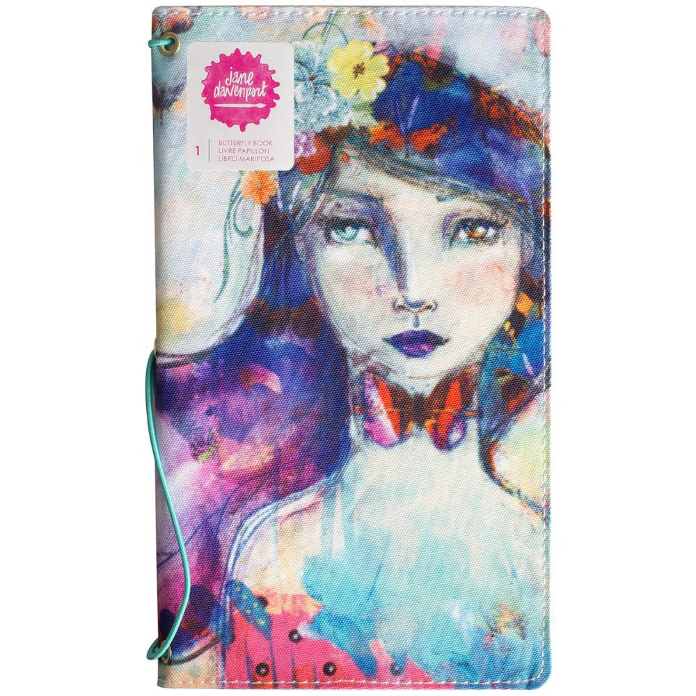 "Jane Davenport Butterfly Effect Canvas Cover Book 5""x9"" - Girl W/2 Elastics & 4 Paper Inserts - Artified Shop"