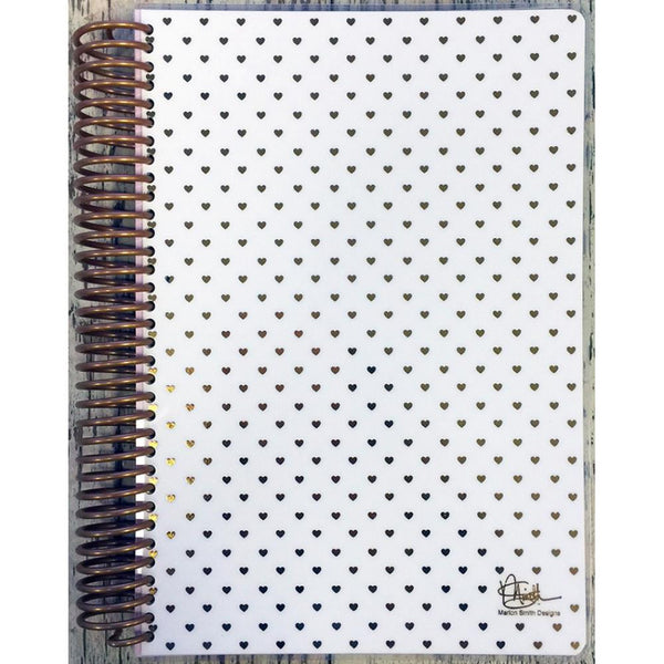 Spiral 30 Day Diary Planner A5 - Gold Foil Heart - Artified Shop