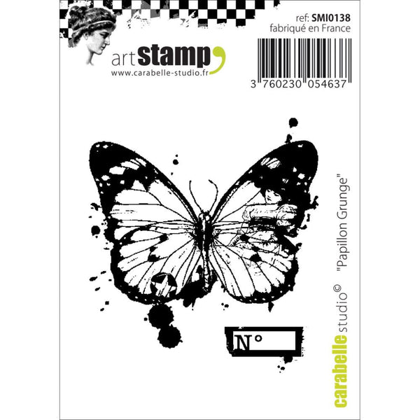 "Grunge Butterfly Carabelle Studio Cling Stamp 2.75""X3.75"""