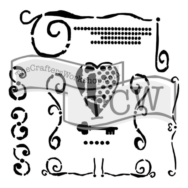 "Heart Key Crafter's Workshop Template 12""X12"""