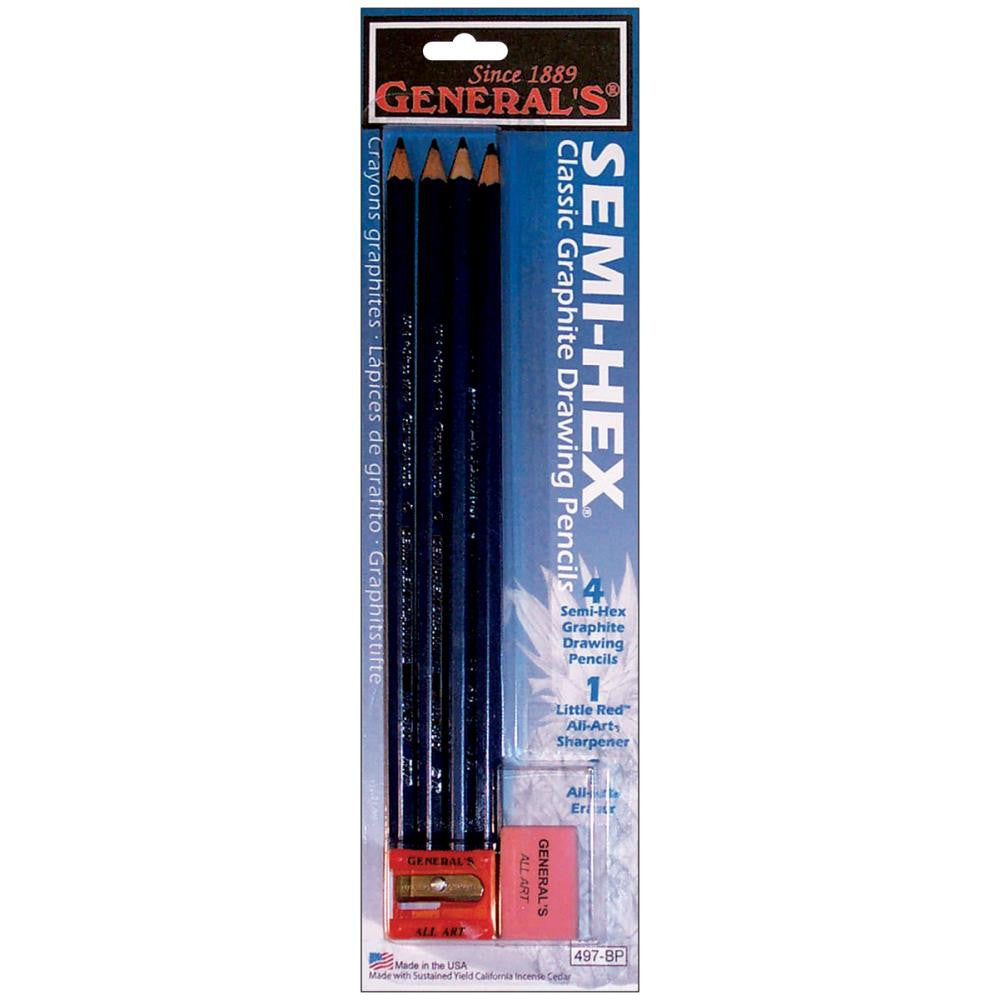Semi-Hex Graphite Drawing Pencils 4/Pkg - Artified Shop
