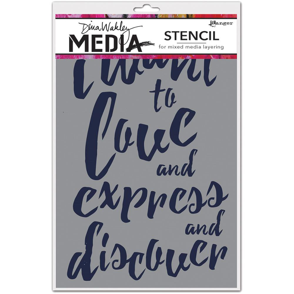 "Dina Wakley Media Stencils 9""X6"" - I Want - Artified Shop"