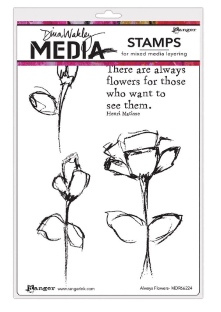 "Dina Wakley Media Cling Stamps 6""X9"" - Always Flowers"