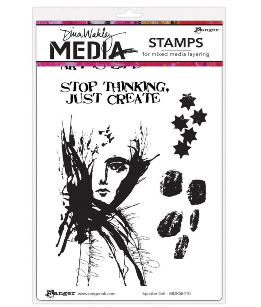 "Splatter Girl Dina Wakley Media Cling Stamps 6""X9"" - Artified Shop"