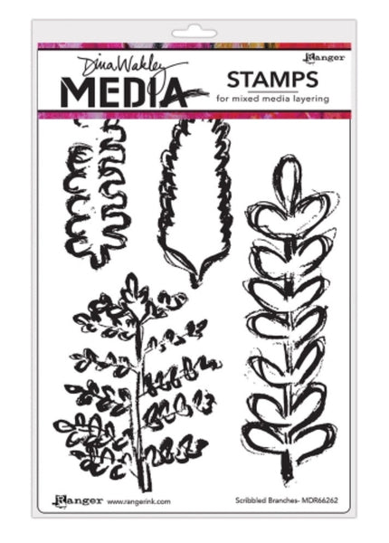 "Dina Wakley Media Cling Stamps 6""X9"" - Scribbled Branches"