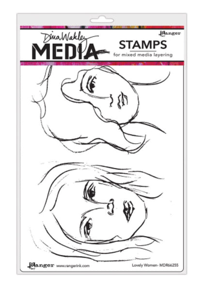 "Dina Wakley Media Cling Stamps 6""X9"" - Lovely Women"