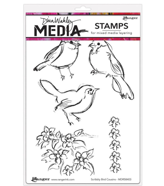 "Scribbly Bird Cousins Dina Wakley Media Cling Stamps 6""X9"" - Artified Shop"