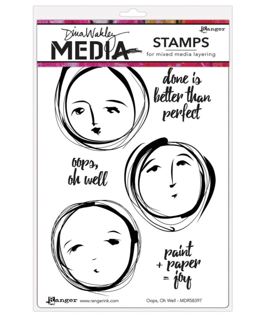 "Oops, Oh Well Dina Wakley Media Cling Stamps 6""X9"" - Artified Shop"