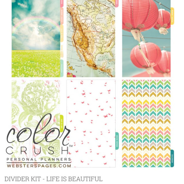 Life is Beautiful Color Crush Personal Planner Divider Set Kit - Artified Shop