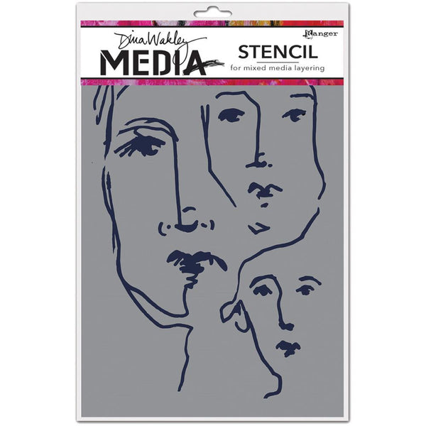 "Dina Wakley Media Stencils 9""X6"" - Scribbled Faces"