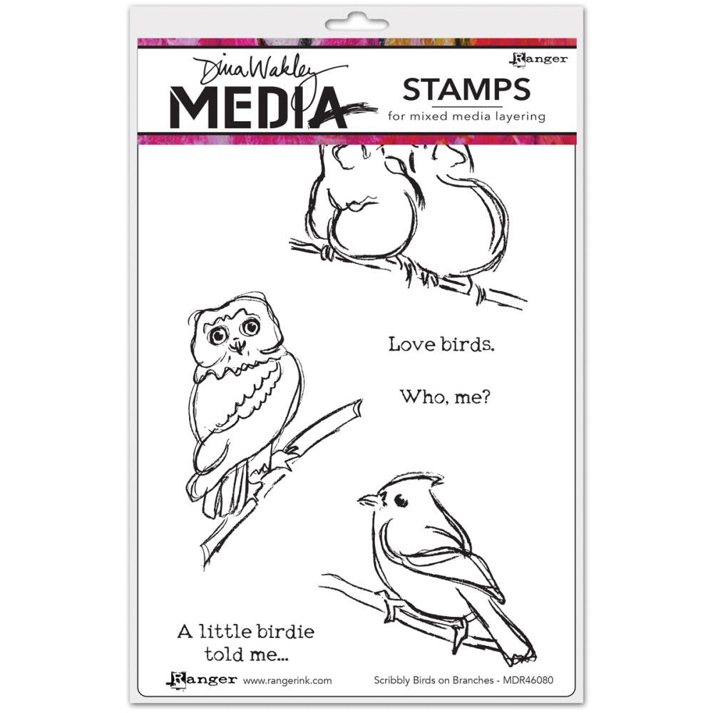 "Scribbly Birds On Branches Dina Wakley Media Cling Stamps 6""X9"""