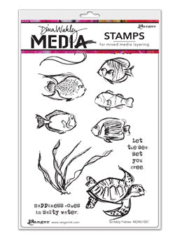 "Dina Wakley Media Cling Stamps 6""X9"" Scribbly Fishes - Artified Shop"